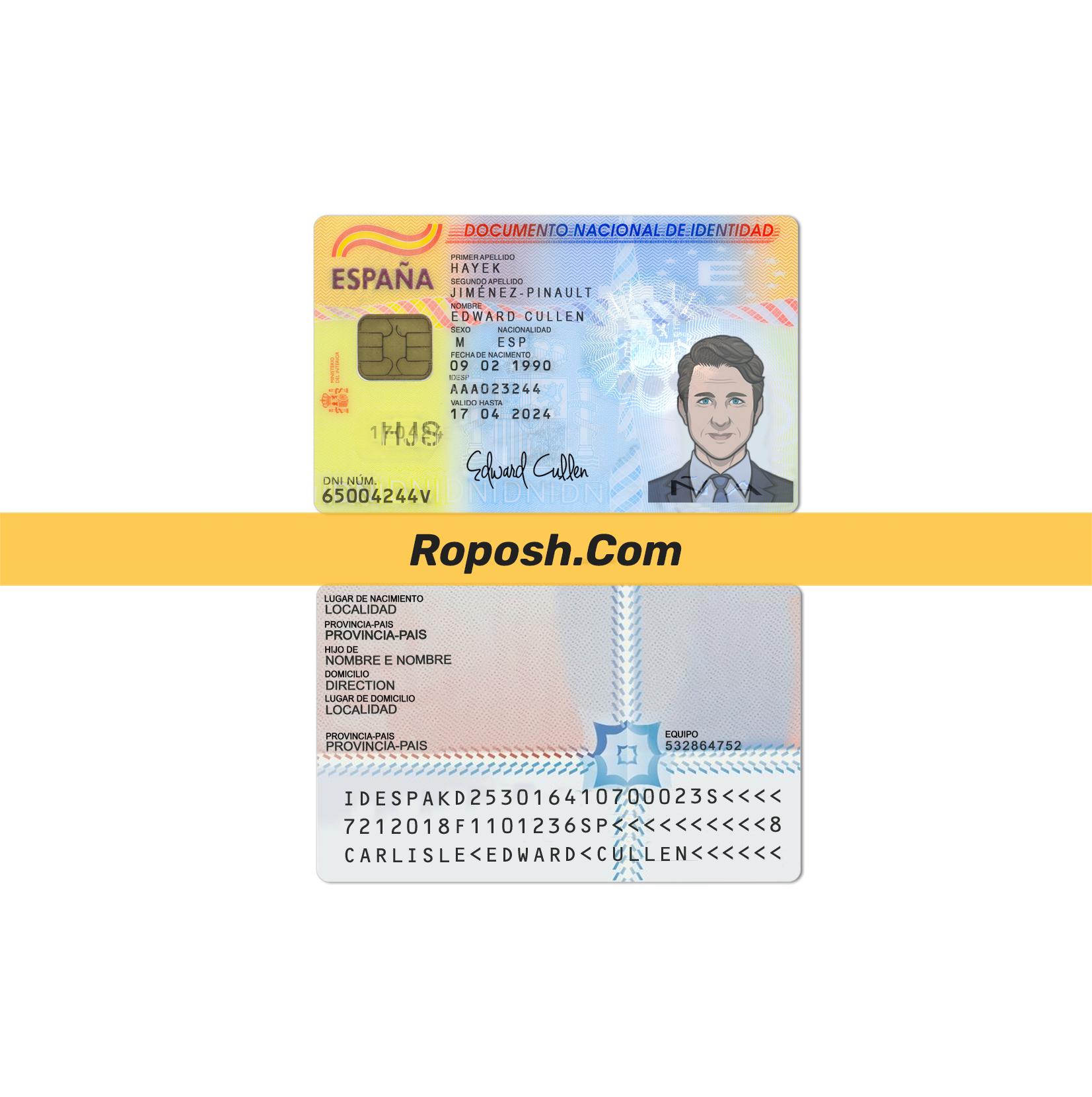 فایل لایه باز کارت شناسایی (آی دی کارت) کشور اسپانیا
