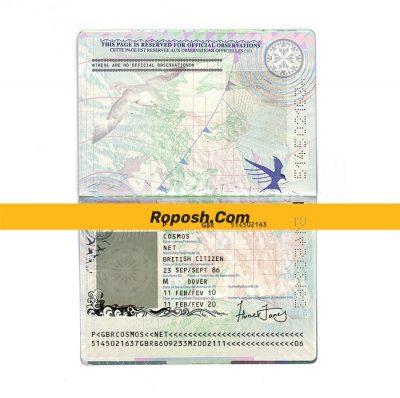 فایل لایه باز پاسپورت کشور انگلستان