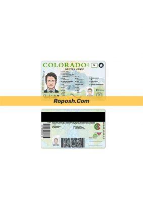فایل لایه باز گواهی رانندگی کشور کلرادو colorado