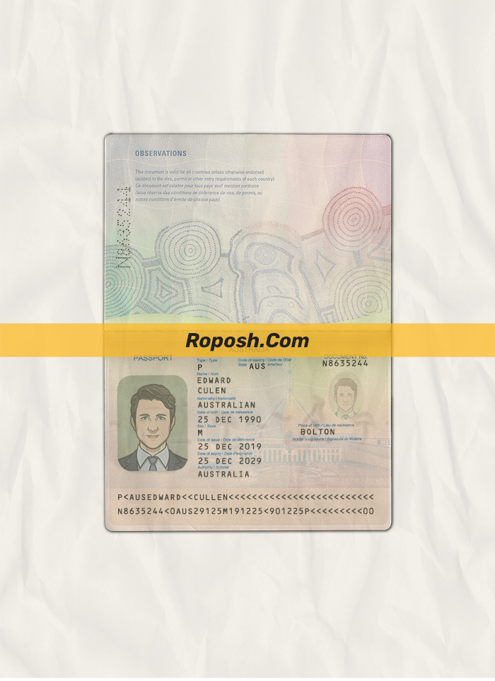 australia passport psd template v2