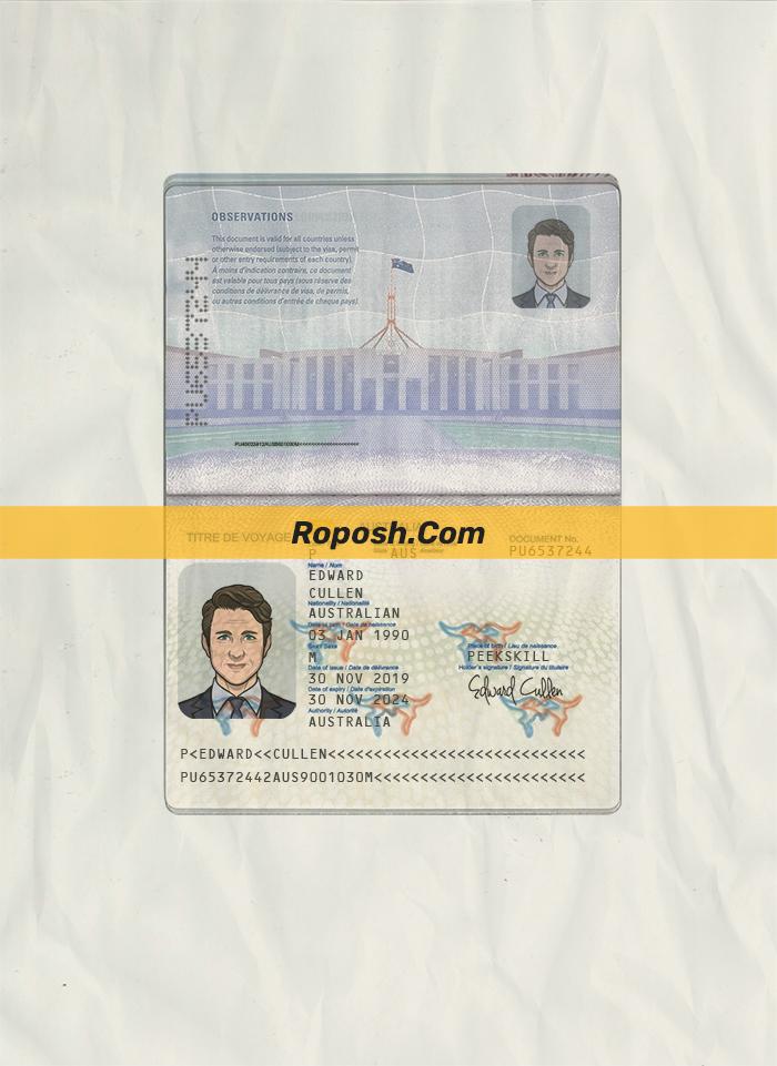 australia passport psd template