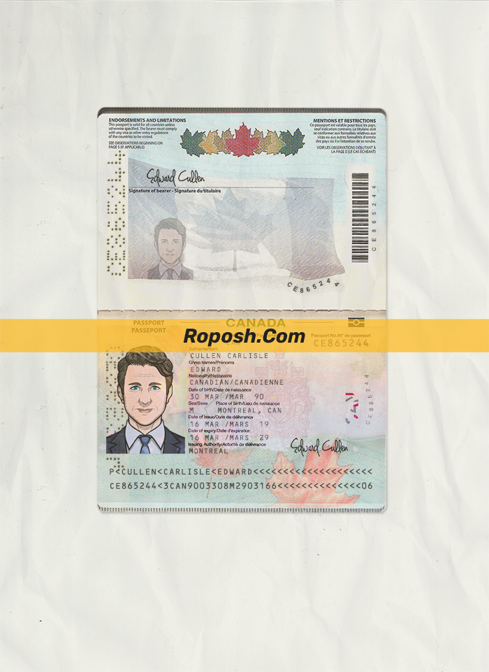canada passport psd template