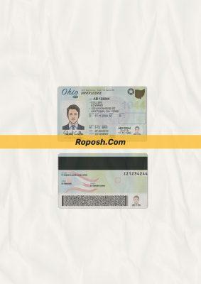 Ohio driver license psd template