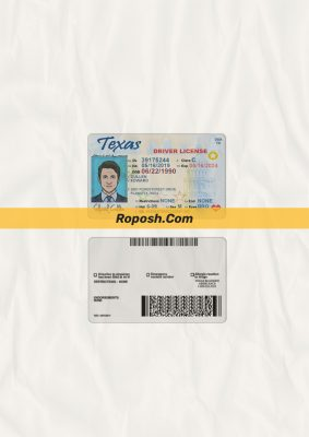Texas driver license psd template