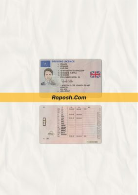 UK driver license psd template